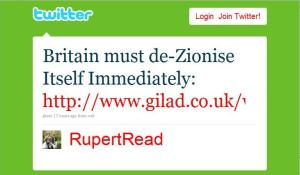 Rupert Read twits link to Gilad Atzmon